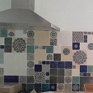 Ręcznie robione płytki kuchenne - patchwork