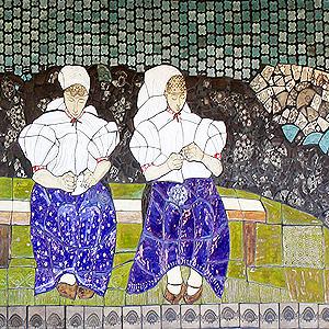 Ceramiczny mural w Koniakowie 'HEKLOWACZKI'