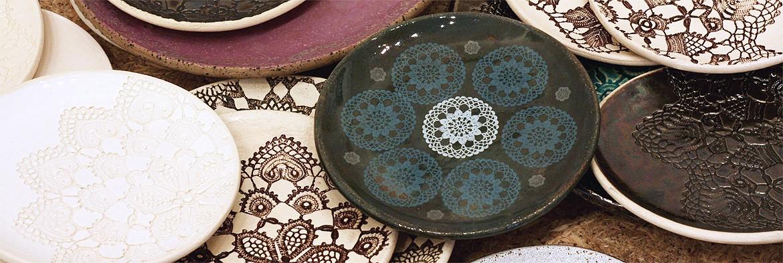 Ręcznie robione ceramiczne misy koronkowe